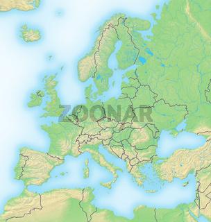 Europa , Reliefkarte.