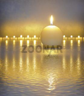 japanes zen garden with candle lights