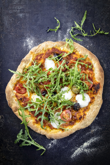 Pizza Caprese on old Backing Sheet