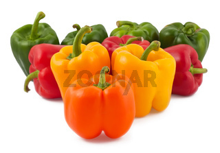 Green, yellow, orange and red peppers