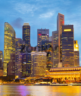 Financial Downtown Singapore at twilight