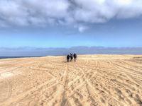 Three people walking through sandy terrain