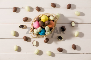 Easter colored eggs in a small basket seen from above