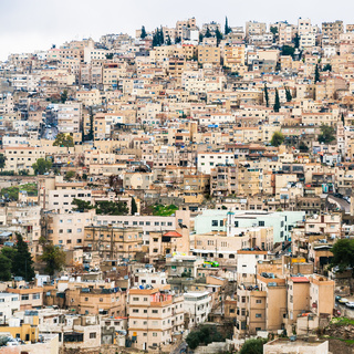 view of urban houses in Amman city in winter