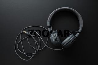 Black retro headphones.