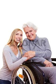 Glückliche Frau im Rollstuhl