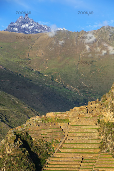 Inca Fortress with Terraces and Temple Hill in Ollantaytambo, Peru