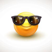 Cute smiling emoticon wearing black sunglasses, emoji, smiley - vector illustration