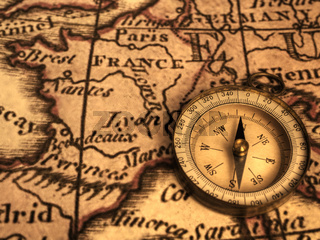 Compass and Ancent Map of France