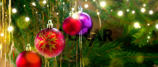 Colorful christmas balls isolated on green fir tree background.