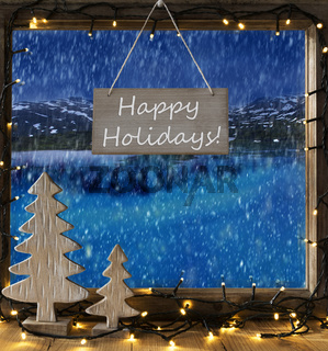 Window, Winter Scenery, Text Happy Holidays