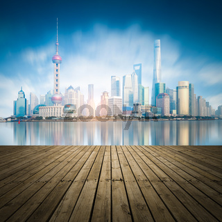 modern city skyline,traffic and cityscape in Shanghai,China.Futuristic business vision concept.