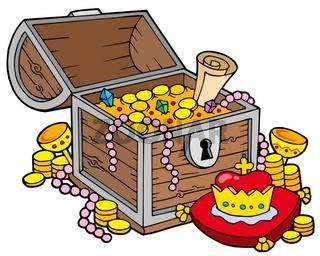 Big treasure chest - isolated illustration.