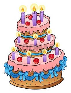 Cake with candles and ribbons - isolated illustration.