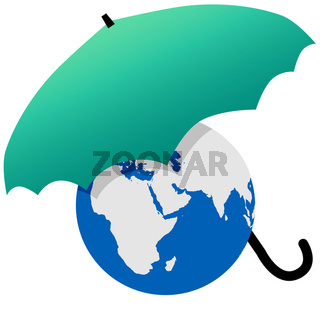 Earth protected by a green world umbrella