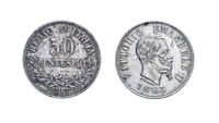 Fifty 50 Lire cents Silver Coin 1863 Vittorio Emanuele II, Kingdom of Italy