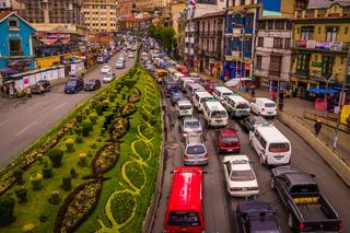 Rush hour traffic jam in city centre