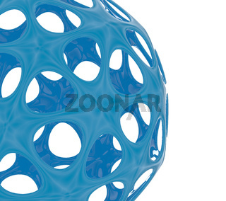 Abstract blue sphere on white