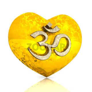 3D - OM sign on golden heart