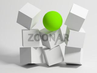 Wall of Cubes. Conceptual image of unique. 3d