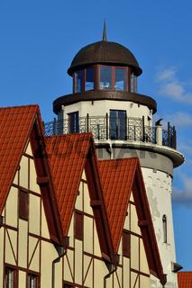 Leuchtturm im Fischerdorf. Kaliningrad, ehemals Königsberg, Russland
