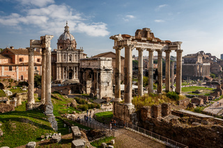 Roman Forum (Foro Romano) and Ruins of Septimius Severus Arch and Saturn Temple in Rome, Italy