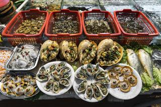 mixed fresh seafood on display at xiamen street market china