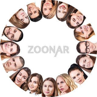 Collage of different people in circle.