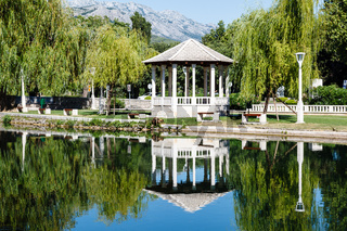 Picturesque Landscape, Pavilion, River and Willow, Solin, Croatia