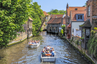 Boats On The Canal Bruges Belgium