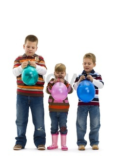 Happy children with toy balloon