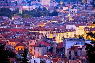 City of Split evening aerial view
