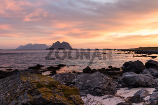 Scenic cloudscape with sunrise over the Lofoten islands in Norway in summer