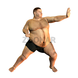 thick man in sporty pose