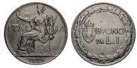 One 1 Lira Nichelio Coin 1923 Buono Vittorio Emanuele III Kingdom of Italy