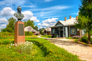 Monument to Alexander Suvorov in his estate in the summer sunny day