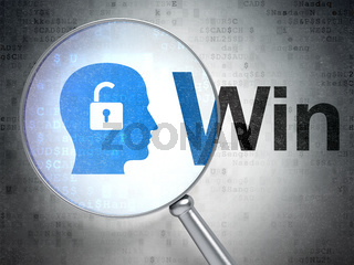 Finance concept: Head With Padlock and Win with optical glass