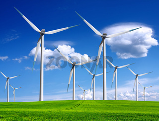 Windmills in summer landscape