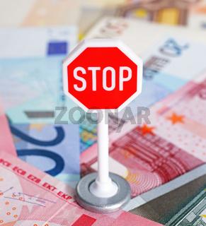 Stop Schild mit Euros