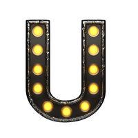 u metal letter with lights. 3D illustration