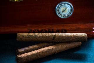 Cedar humidor and cigars