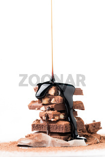 Tower of chocolate with syrup