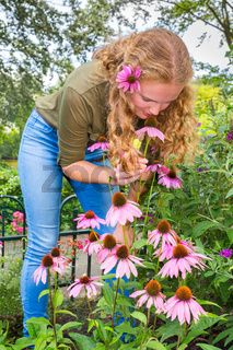 Young caucasian woman smelling echinacea flower in garden