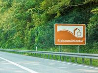 Siebenmuhlental, sign, Autobahn, Germany