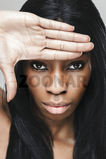 Young black beautiful woman with perfect skin