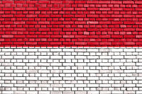 flag of Indonesia painted on brick wall