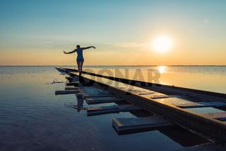 Beauty sunset on salty lake