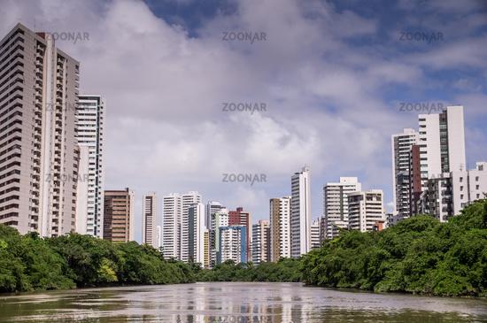 The skyline of Recife in Pernambuco, Brazil from river