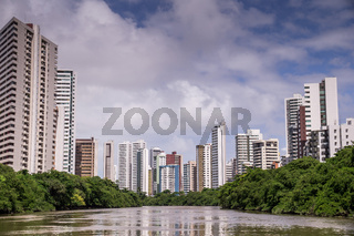 The skyline of Recife in Pernambuco, Brazil from river