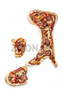 Pizza in Form von der italienischen Halbinsel